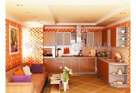 """Кухня """"Капучино""""(угловая 3,2*2,7 м/Капучино/ДСП в алюминиевом профиле)"""