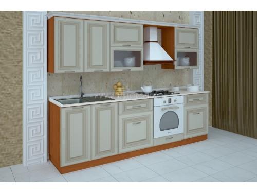 """Кухня """"Классик""""(прямая 2,6 м/ваниль супермат с патиной/МДФ)"""