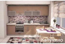 """Кухня """"Капучино""""(прямая 3,1 м/Капучино/ДСП в алюминиевом профиле)"""