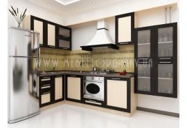 """Кухня """"Адель"""" (угловая 3,2*1,4 м/МДФ рамка Венге/ДСП Дуб Молочный)"""