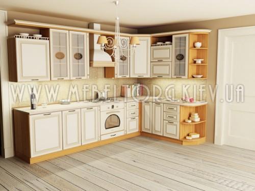 """Кухня """"Классик""""(угловая 3,1*1,9 м/ваниль супермат с патиной/МДФ)"""