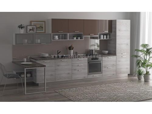 """Кухня """"Руна""""(прямая 4,2 м/Какао глянец МДФ-Дуб полярный ДСП)"""
