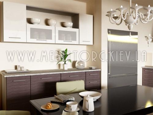 """Кухня """"Сити""""(прямая 2,0 м/белый металлик-штрокс венге/МДФ)"""