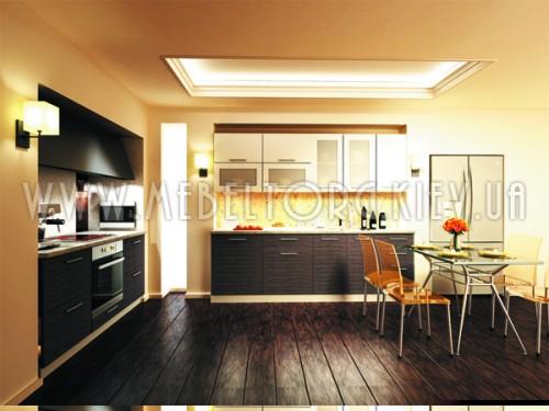"""Кухня """"Сити""""(прямая 2,4 м и 1,8 м/белый металлик-штрокс венге/МДФ)"""