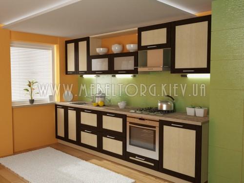 """Кухня """"Адель"""" (прямая 3,2 м/МДФ рамка Венге/ДСП Дуб Молочный)"""