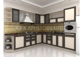 """Кухня """"Адель"""" (угловая 2,8*2,9 м/МДФ рамка Венге/ДСП Дуб Молочный)"""