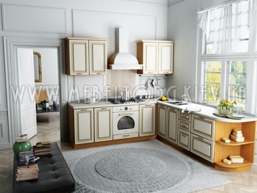 """Кухня """"Классик""""(угловая 2,7*2,4 м/ваниль супермат с патиной/МДФ)"""