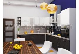 "Кухня ""Сити""(угловая 3,0*2,7 м/белый металлик-штрокс венге/МДФ)"