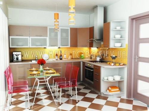 """Кухня """"Капучино""""(угловая 3,0*2,2 м/Капучино/ДСП в алюминиевом профиле)"""