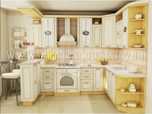 """Кухня """"Классик""""(угловая 2,7*1,9 м/ваниль супермат с патиной/МДФ)"""