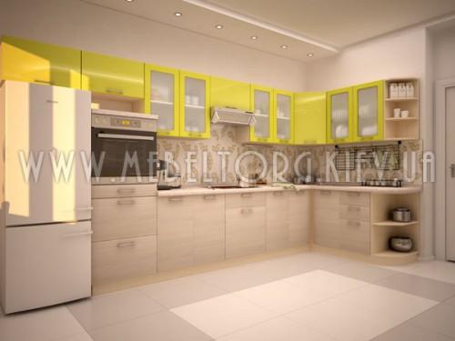 """Кухня """"Киви""""(угловая 4,0*1,7 м/Оливка глянец МДФ-Кедр северный ДСП)"""