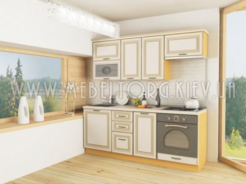 """Кухня """"Классик""""(прямая 2,0 м/ваниль супермат с патиной/МДФ)"""