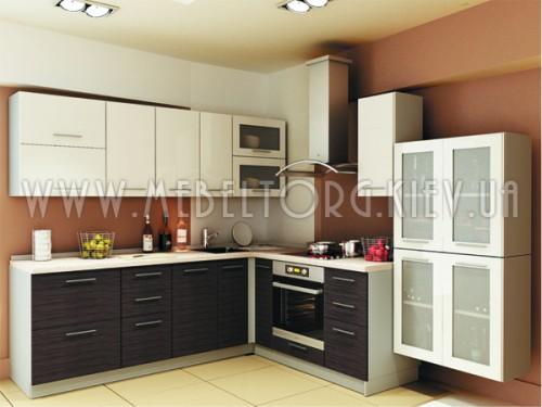 "Кухня ""Сити""(угловая 2,4*2,6 м/белый металлик-штрокс венге/МДФ)"