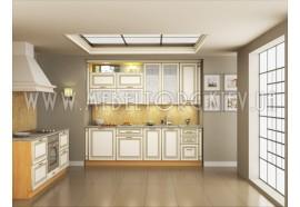 """Кухня """"Классик""""(прямая 2,5 м/ваниль супермат с патиной/МДФ)"""
