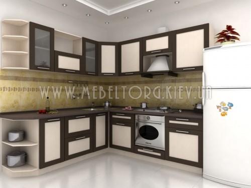 """Кухня """"Адель"""" (угловая 2,4*2,3 м/МДФ рамка Венге/ДСП Дуб Молочный)"""
