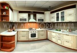 """Кухня """"Классик""""(п-образная 3,05*3,2*1,7 м/ваниль супермат с патиной/МДФ)"""