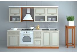 """Кухня """"Классик""""(прямая 2,4 м/ваниль супермат с патиной/МДФ)"""