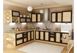 """Кухня """"Адель"""" (угловая 3,2 м*2,7/МДФ рамка Венге/ДСП Дуб Молочный)"""