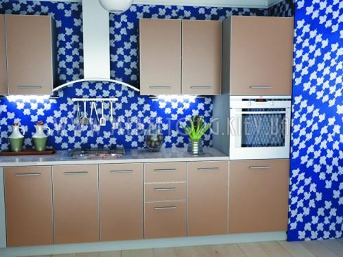"""Кухня """"Капучино""""(прямая 2,6 м/Капучино/ДСП в алюминиевом профиле)"""