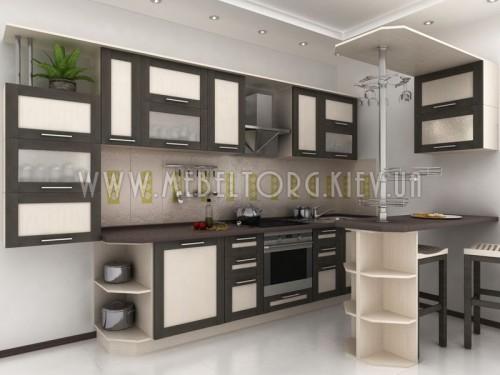 """Кухня """"Адель"""" (прямая 3,5 м/МДФ рамка Венге/ДСП Дуб Молочный)"""