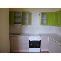 """Кухня """"Киви""""(угловая 2,6*1,4 м/Оливка глянец МДФ-Кедр северный ДСП)"""